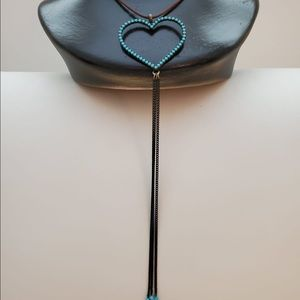 Necklace made in Israel with Turquoise heart